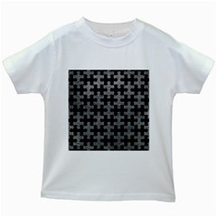 Puzzle1 Black Marble & Gray Leather Kids White T Shirts