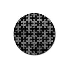 Puzzle1 Black Marble & Gray Leather Magnet 3  (round)