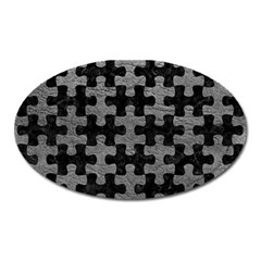 Puzzle1 Black Marble & Gray Leather Oval Magnet