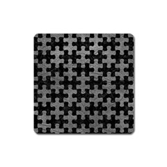 Puzzle1 Black Marble & Gray Leather Square Magnet