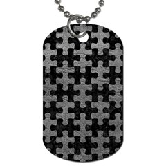 Puzzle1 Black Marble & Gray Leather Dog Tag (two Sides)