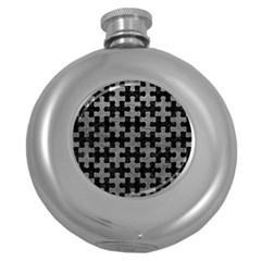 Puzzle1 Black Marble & Gray Leather Round Hip Flask (5 Oz)