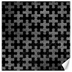 Puzzle1 Black Marble & Gray Leather Canvas 20  X 20