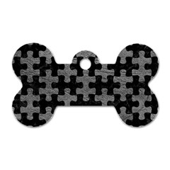 Puzzle1 Black Marble & Gray Leather Dog Tag Bone (one Side)