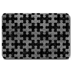 Puzzle1 Black Marble & Gray Leather Large Doormat
