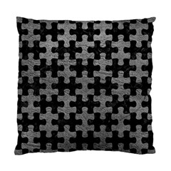 Puzzle1 Black Marble & Gray Leather Standard Cushion Case (one Side)