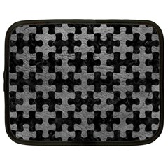 Puzzle1 Black Marble & Gray Leather Netbook Case (xl)