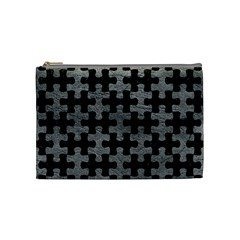 Puzzle1 Black Marble & Gray Leather Cosmetic Bag (medium)