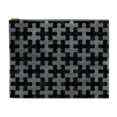 Puzzle1 Black Marble & Gray Leather Cosmetic Bag (xl)