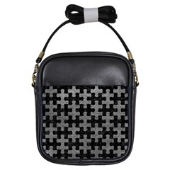 Puzzle1 Black Marble & Gray Leather Girls Sling Bags