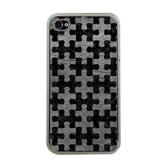 Puzzle1 Black Marble & Gray Leather Apple Iphone 4 Case (clear)