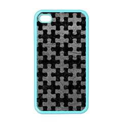 Puzzle1 Black Marble & Gray Leather Apple Iphone 4 Case (color)