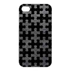 Puzzle1 Black Marble & Gray Leather Apple Iphone 4/4s Hardshell Case