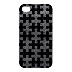 Puzzle1 Black Marble & Gray Leather Apple Iphone 4/4s Premium Hardshell Case