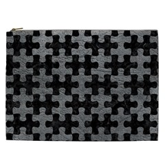 Puzzle1 Black Marble & Gray Leather Cosmetic Bag (xxl)