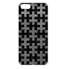 Puzzle1 Black Marble & Gray Leather Apple Iphone 5 Seamless Case (white)