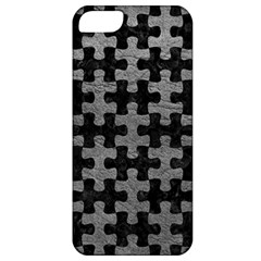Puzzle1 Black Marble & Gray Leather Apple Iphone 5 Classic Hardshell Case