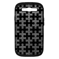 Puzzle1 Black Marble & Gray Leather Samsung Galaxy S Iii Hardshell Case (pc+silicone)
