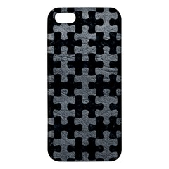 Puzzle1 Black Marble & Gray Leather Apple Iphone 5 Premium Hardshell Case