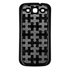 Puzzle1 Black Marble & Gray Leather Samsung Galaxy S3 Back Case (black)