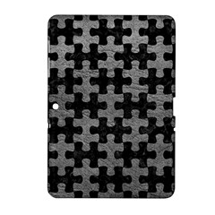 Puzzle1 Black Marble & Gray Leather Samsung Galaxy Tab 2 (10 1 ) P5100 Hardshell Case