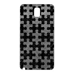 Puzzle1 Black Marble & Gray Leather Samsung Galaxy Note 3 N9005 Hardshell Back Case