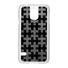 Puzzle1 Black Marble & Gray Leather Samsung Galaxy S5 Case (white)