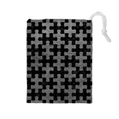 Puzzle1 Black Marble & Gray Leather Drawstring Pouches (large)