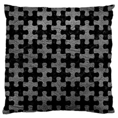 Puzzle1 Black Marble & Gray Leather Large Flano Cushion Case (two Sides)