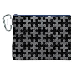 Puzzle1 Black Marble & Gray Leather Canvas Cosmetic Bag (xxl)
