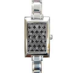 Royal1 Black Marble & Gray Leather Rectangle Italian Charm Watch