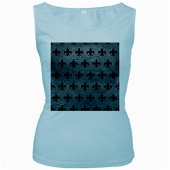 Royal1 Black Marble & Gray Leather Women s Baby Blue Tank Top