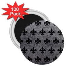Royal1 Black Marble & Gray Leather 2 25  Magnets (100 Pack)
