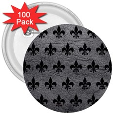 Royal1 Black Marble & Gray Leather 3  Buttons (100 Pack)