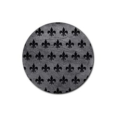 Royal1 Black Marble & Gray Leather Rubber Round Coaster (4 Pack)