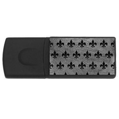 Royal1 Black Marble & Gray Leather Rectangular Usb Flash Drive