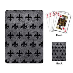 Royal1 Black Marble & Gray Leather Playing Card