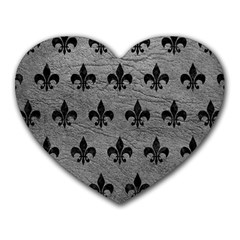 Royal1 Black Marble & Gray Leather Heart Mousepads
