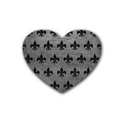 Royal1 Black Marble & Gray Leather Rubber Coaster (heart)