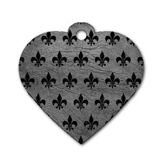 Royal1 Black Marble & Gray Leather Dog Tag Heart (one Side)