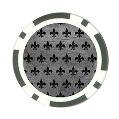 Royal1 Black Marble & Gray Leather Poker Chip Card Guard