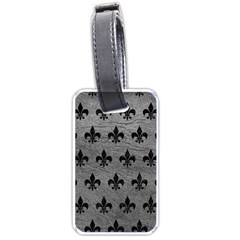 Royal1 Black Marble & Gray Leather Luggage Tags (one Side)