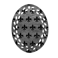 Royal1 Black Marble & Gray Leather Oval Filigree Ornament (two Sides)