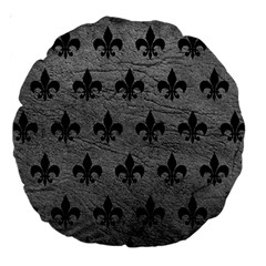 Royal1 Black Marble & Gray Leather Large 18  Premium Round Cushions