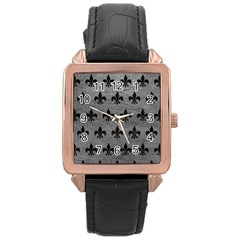 Royal1 Black Marble & Gray Leather Rose Gold Leather Watch