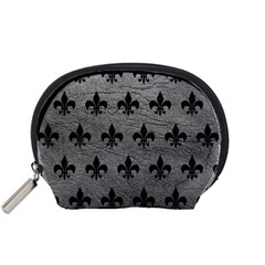 Royal1 Black Marble & Gray Leather Accessory Pouches (small)