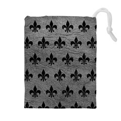 Royal1 Black Marble & Gray Leather Drawstring Pouches (extra Large)