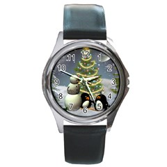 Funny Snowman With Penguin And Christmas Tree Round Metal Watch