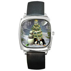 Funny Snowman With Penguin And Christmas Tree Square Metal Watch