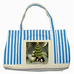 Funny Snowman With Penguin And Christmas Tree Striped Blue Tote Bag